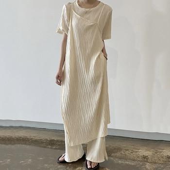 [EWQ] Summer Casual Trendy Women O Neck Fake Two-piece Split Short-sleeved Top+fashion High-waist Trousers Set 2021 16E1776 1