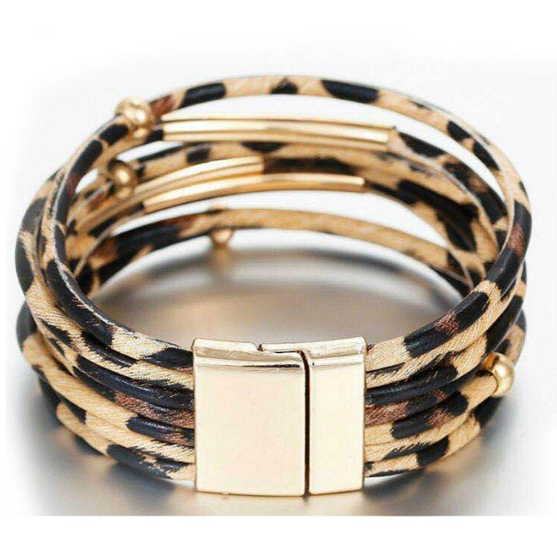 Bracelet en cuir à mémoire de forme léopard Bracelet multicouche Bracelet large femmes bijoux U50C