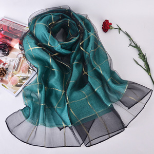 Image 1 - Elegant Women Cotton+Silk Scarves For Women Long Shawls Wraps Plaid Print Kerchief Hijab Scarf 190cm*70cm Neck Scarfs For Ladies