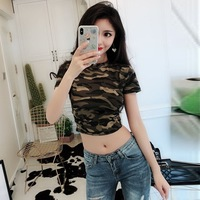 Photo Shoot ~ Summer New Style Online Celebrity Sexy Retro Camouflage Short Sleeve Short Slim Fit Navel T shirt Tee Tops