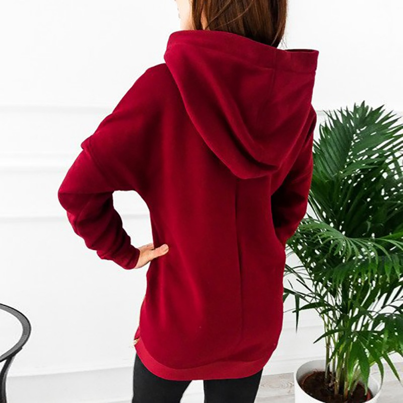 2019 New Autumn Winter Casual Women Hooded Long Sleeve Hoodies Pullover Tops Simple Solid Color Basic Hoodies Women Large Size in Hoodies amp Sweatshirts from Women 39 s Clothing
