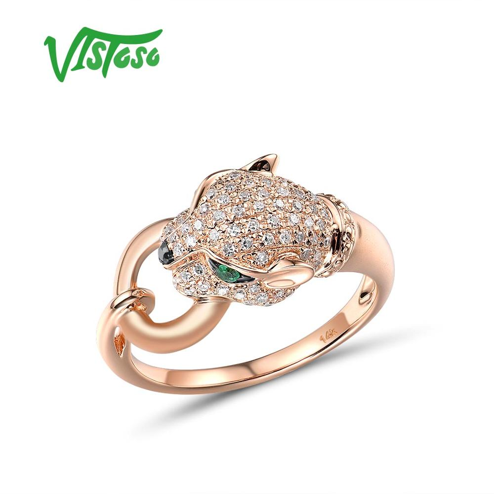 VISTOSO Gold Rings For Women Genuine 14K 585 Rose Gold Leopar Ring Emerald Sparkling Diamond Engagement Anniversary Fine Jewelry