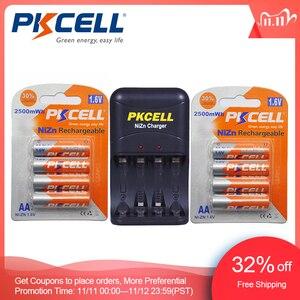 Image 1 - 8 قطعة/2 حزمة PKCELL 1.6 فولت نيزن AA بطاريات قابلة للشحن NI Zn 1.6 فولت 2500mWh AA بطاريات 1 قطعة AA/AAA شاحن بطارية نيزن