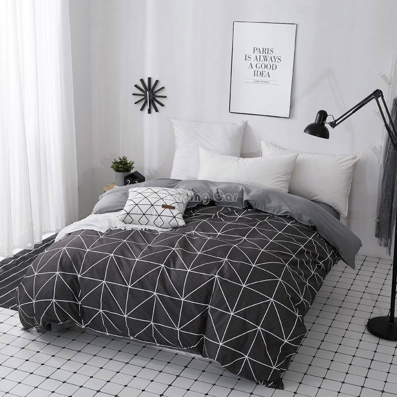 Home Textile Modern Geometric Triangle Duvet Cover With Zipper 1 Piece Polyester Cotton Quilt Cover Comforter Cover Bedclothes