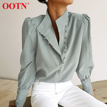 OOTN Elegant Turtleneck Blouse Long Sleeve White Shirt Office Ladies Top Casual Solid Single-Breasted Puff Sleeve Womens Blouses