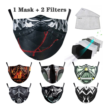Mask 3D Star Wars Face Masks Cotton Cosplay Mandalorian Imperial PM2.5 Filter Mask Fashion Dust-proof Facemask Washable Filter image