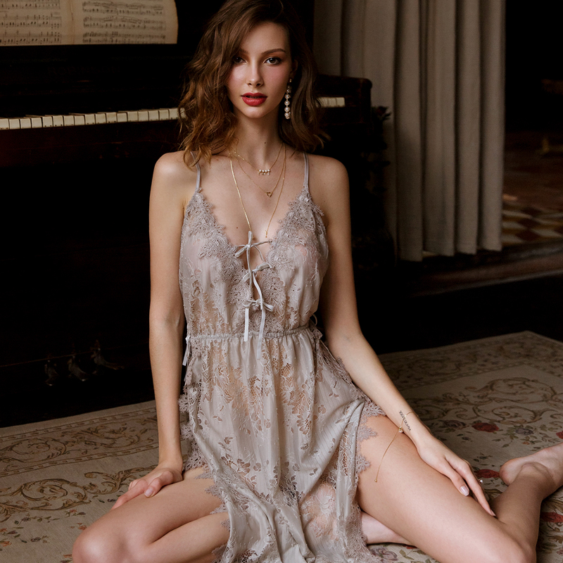 Grey Floral Hollowed Out Lace Nightdress Womens Nightgown Sleepwear Lingerie Dress Spaghetti Strap Sleeping Dress with Thongs