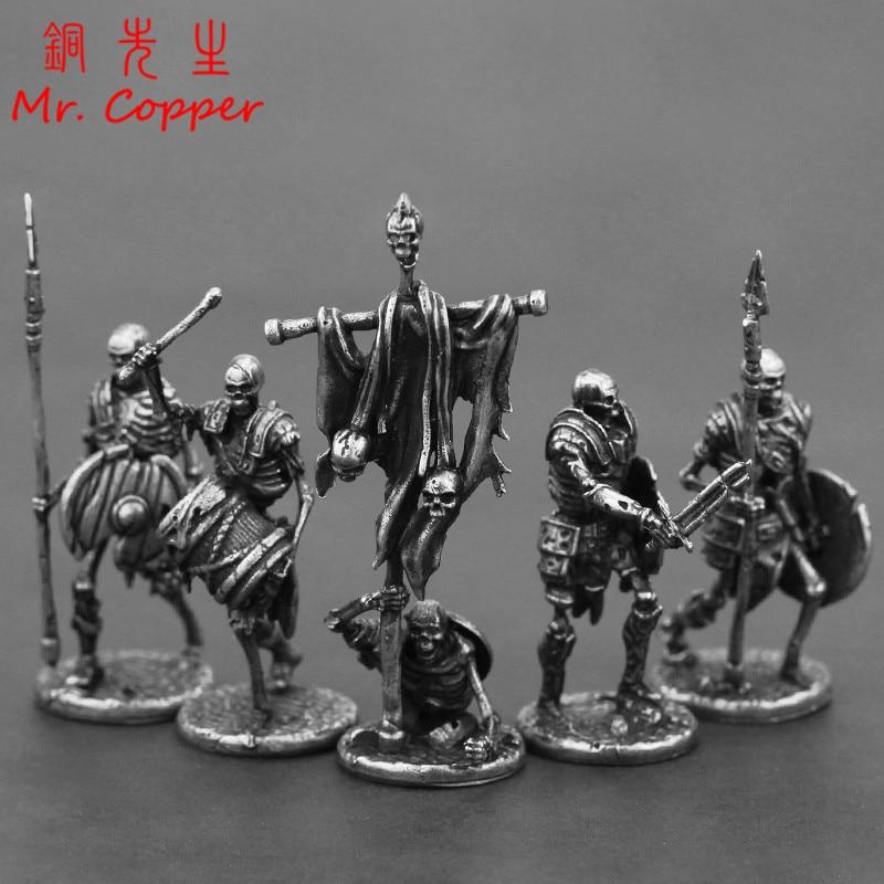 Branco cobre mortos-vivos esqueleto legião estatuetas em miniatura decoração retro metal crânio soldado exército modelo estátua de brinquedo ornamento