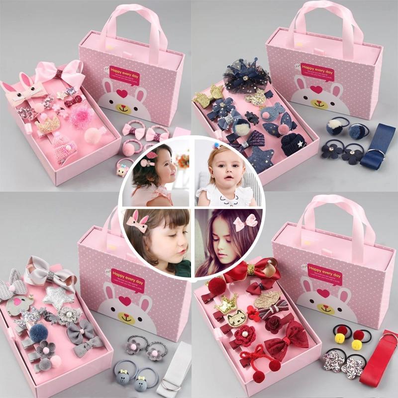 18 Pcs/Box Cute Hair Accessories GirlsChildren Headdress Gifts Set Baby Bow Hairpins Barrettes Princess Hair Ring Hair Clips