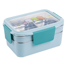 цена Lunch Box for Kid Stainless Steel Double Layer Food Container Portable for Kids Kids Picnic School Bento Box Bento for Lunch онлайн в 2017 году