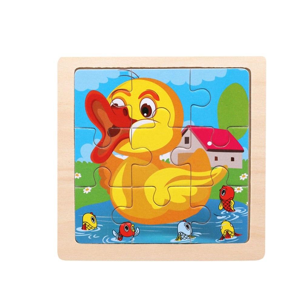 Деревянная маленькая головоломка, детская головоломка, 9 частей древесного леса, в форме животного, история, головоломка/дорожные пазлы/гол...