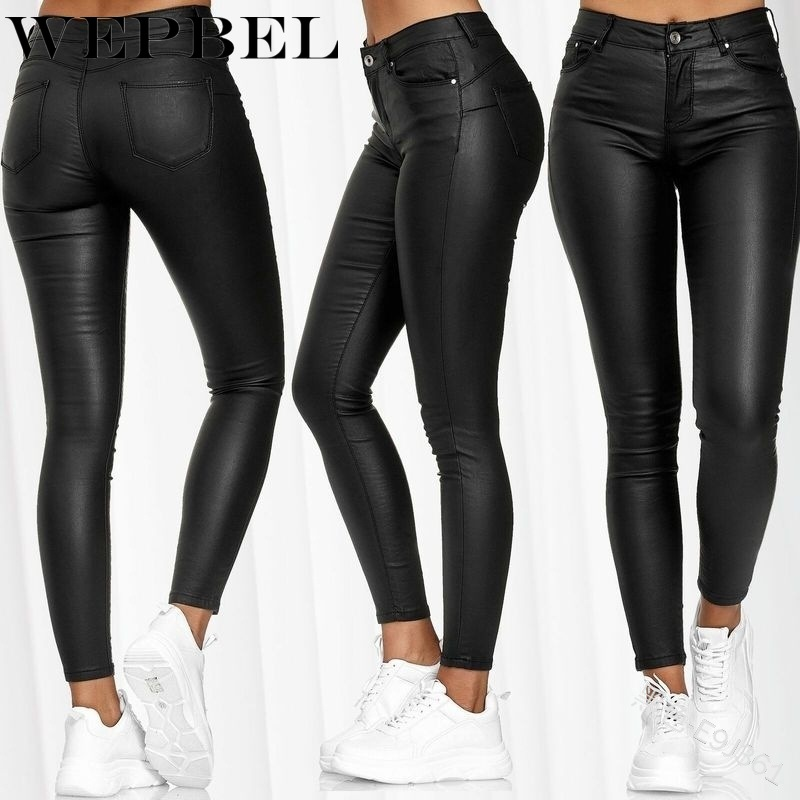 WEPBEL Women's Skinny Pants Fashion Hose Leather Stretch Hipsters Trousers Leather Pants Plus Size Women Trousers Spring Summer