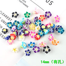 10pcs 14MM Soft ceramics polymer clay Plumeria rubra charms pendants ornament decoration Jewelry making Handicraft Material(China)