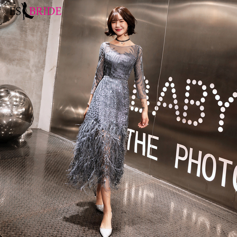 Grey Sparkle Evening Dresses Long ES30172 O-Neck Pink Sequined A Line Formal Dresses For Party Robe De Soiree 2019