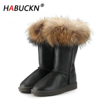 HABUCKN Shipping Fashion Boots Women High Boots Women Snow Boots 100% Genuine Waterproof Winter Shoes Natural Fox Fur Leather top fashion 2018 real wool botas mujer high quality genuine sheepskin leather snow boots natural fur waterproof women shoes