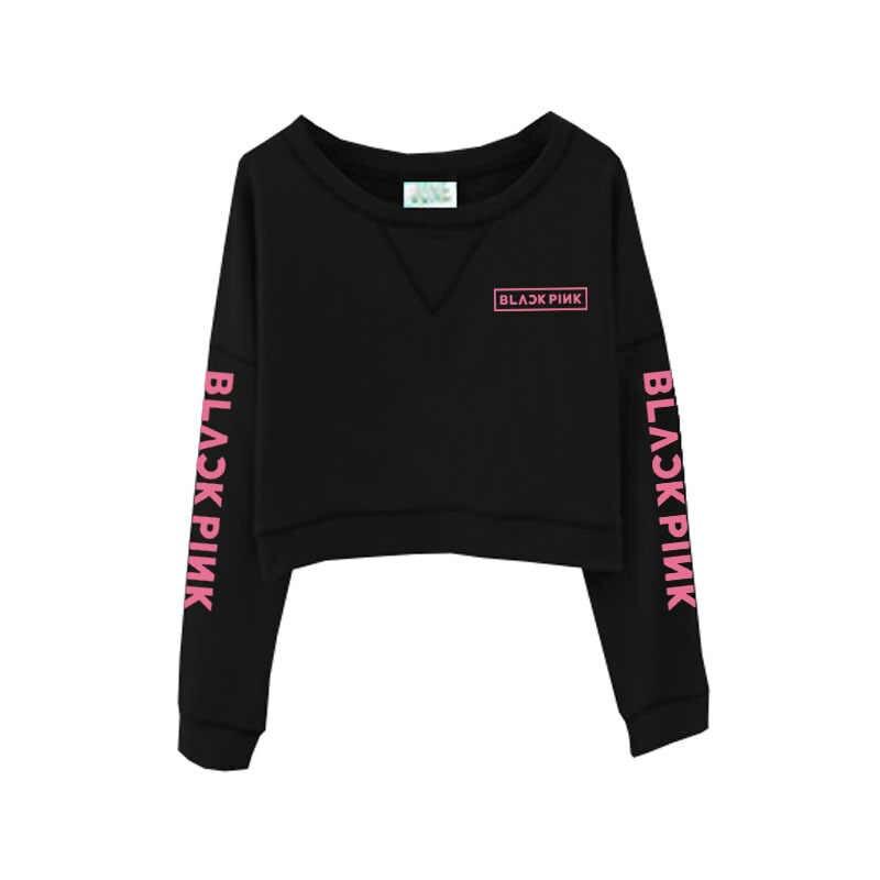 2019 BLACKPINK Same paragraph Sweatshirt women Round neck short Sweatshirt thin section bottoming shirt womens tops clothes