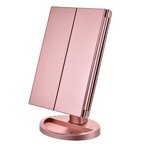 beleza lente de preenchimento ouro rosa led espelho dobravel