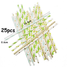 25pcs Disposable Paper Straw Party Festival DIY Decoration Colorful 30g/Bag Striped Dot Printing