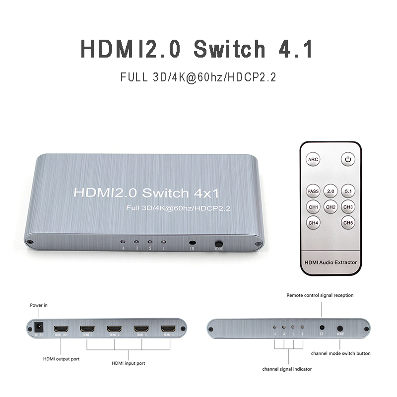 4K x 2K 60Hz HDMI Splitter Full HD 1080P Conmutación de vídeo HDMI Switcher Hub estándar HDMI 2,0 divisor de vídeo para TV DVD HDTV