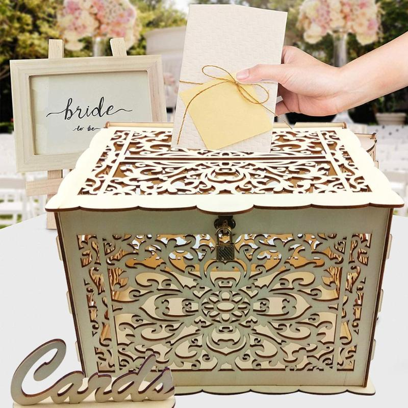 DIY Wedding Card Box Gift Wooden Money Box With Lock Beautiful Wedding Decoration Supplies For Birthday Party Storage Money