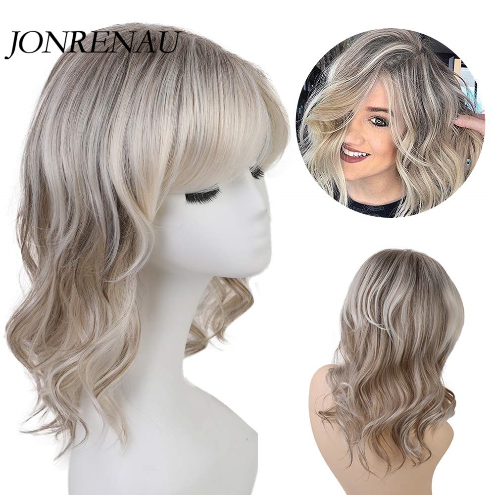 JONRENAU  14 Inches Blonde Mix Brown Color Long Curly Wave Synthetic Wigs Blend 50%  Human Hair  Mix Wig For Women