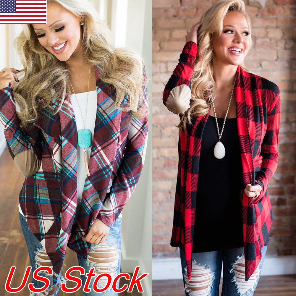 US $4.02 20% OFF|New trendy plaid Women's Buffalo Plaid Cardigans Long Sleeve Loose Cardigan Elbow Patch Draped Open Front Casual Loose Tops on