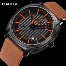 BOAMIGO Top Brand Luxury Quartz Watches Men Leather Strap 30M Waterproof Wristwatches Auto Date Relogio Masculino