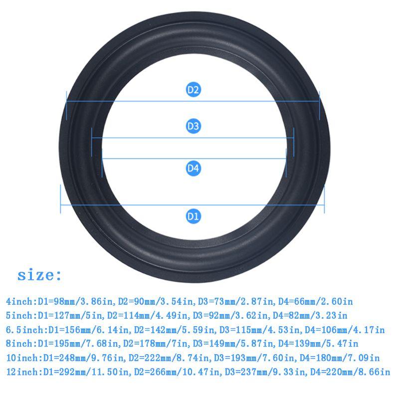 4-5-6.5-8-10-12 Elastic Rubber Ring Speaker Surround Repair Foam Woofer Edge