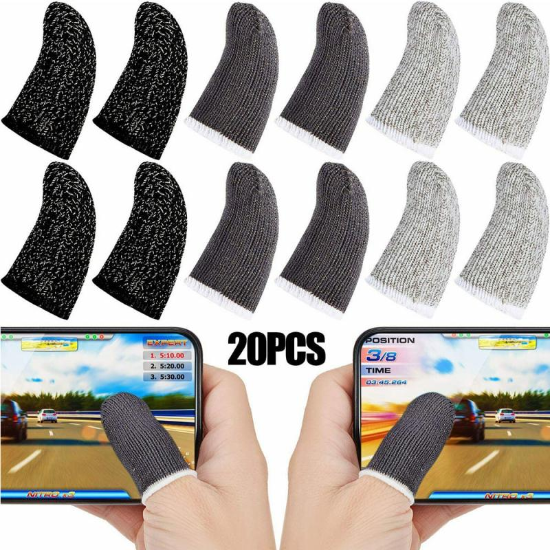 20Pcs Gaming Finger Sleeve Breathable Fingertips For Games Anti-Sweat Touch Screen Finger Cots Cover Sensitive Mobile Touch