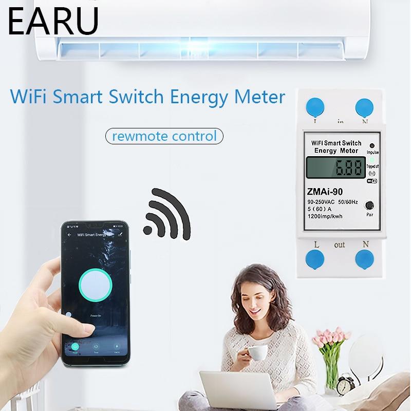 Умный измеритель мощности с Wi-Fi, измеритель расхода энергии в ваттах/ч, вольтметр, 90-250 В, Din-рейка, дистанционное управление, TUYA Alexa Google Home