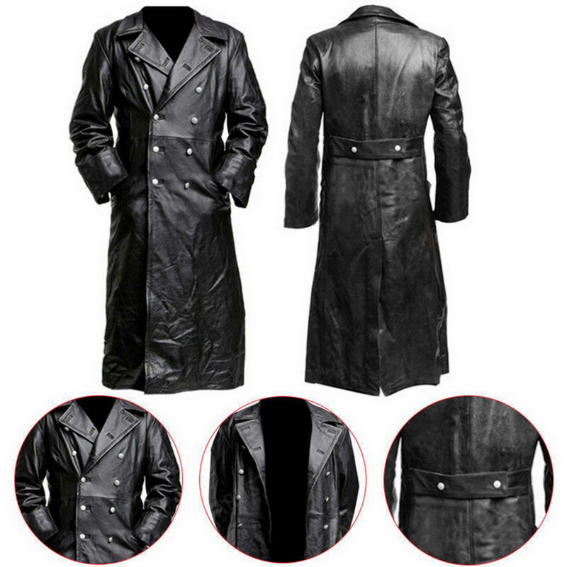 Button Closure Leather Jacket Top Quality Long Trench Winter Men's Vintage Business Outerwear Premium Officer Black Leather Coat
