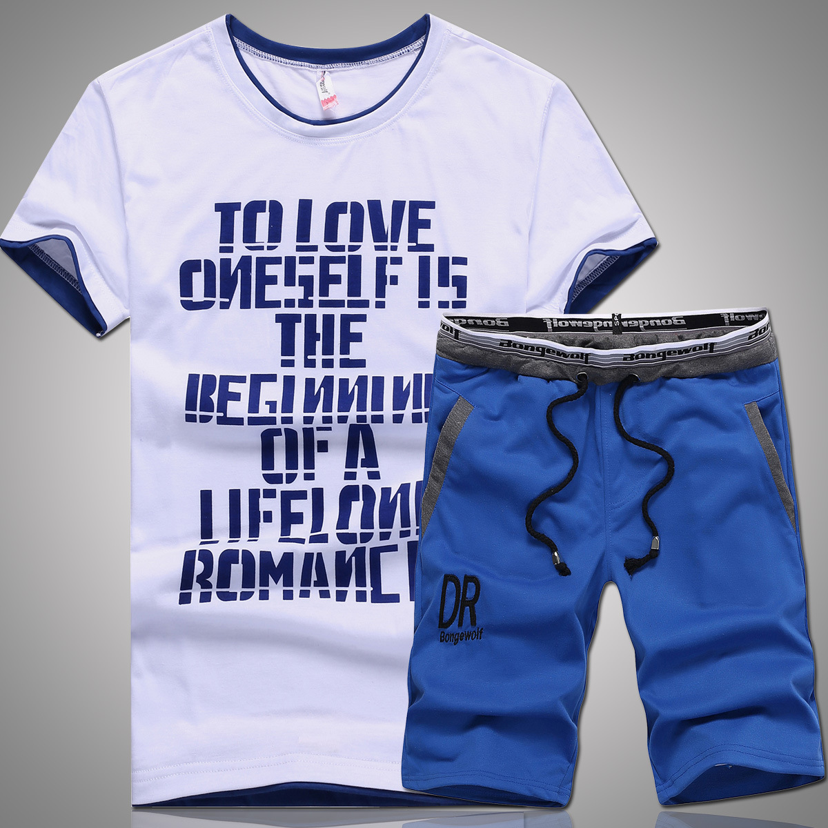 New Style Summer Short T-shirt Men'S Wear Teenager English Printed Letter Casual Shorts Sports Two Piece Set-