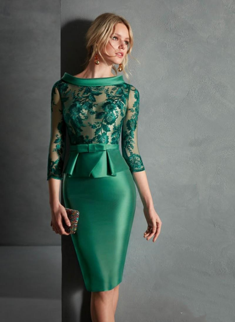 Green 2020 Mother Of The Bride Dresses Lace Wedding Guest Dress Cheap Knee Length Evening Gowns