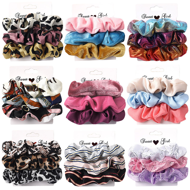 3-6Pcs Velvet Hair Rope Satin Sequin Cloth Scrunchies Elastic Hairband Women Ponytail Holder Hair Ties Girls Hair Accessories