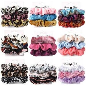 3-6Pcs Velvet Hair Rope Satin Sequin Cloth Scrunchies Elastic Hairband Women Ponytail Holder Hair Ties Girls Hair Accessories