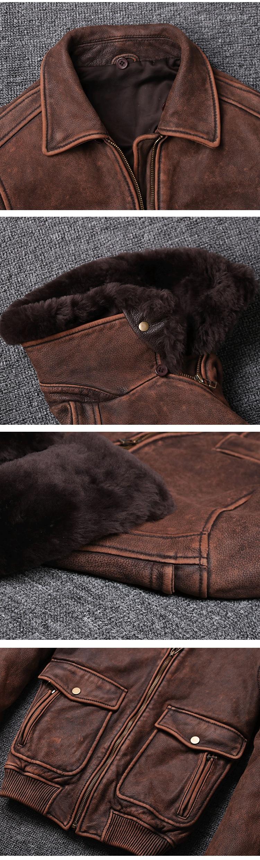 Jaqueta de couro de vaca do vintage