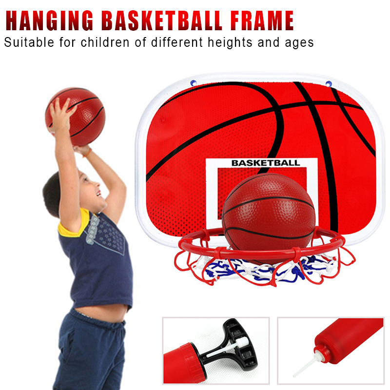 Children Hanging Style Basketball Hoop Set Height Adjustable Portable Indoor Sports Toy B2Cshop
