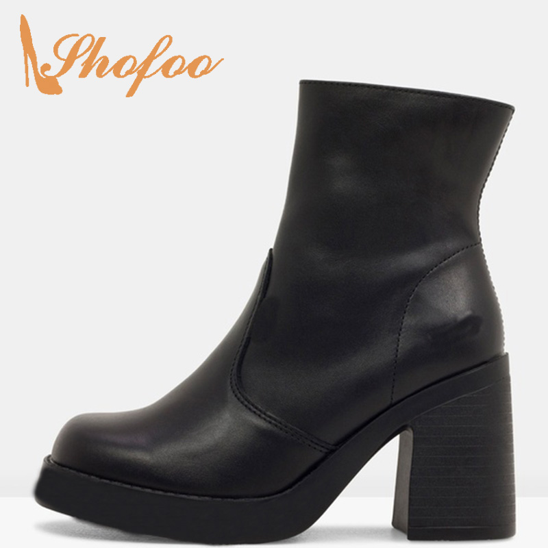 Shoes Heels Ankle-Boots Black Platform Square Toe Zipper Female High-Chunky Large-Size