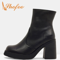 Black Platform Ankle Boots Woman Square Toe High Chunky Heels Zipper Large Size 32 38 Female Winter Booties Shoes Warm Fashion