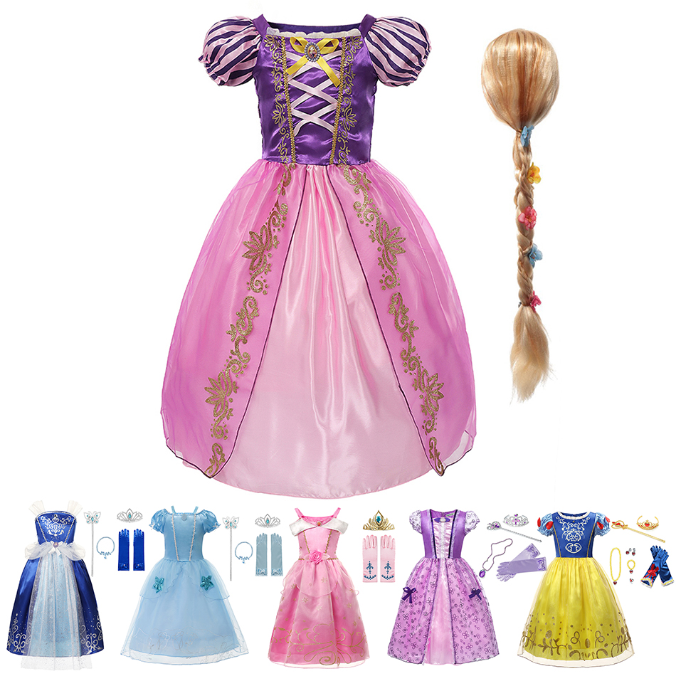 YOFEEL Princess Rapanzel Dress Costume for Girl Kids Cosplay Cartoon Tangled Gown Children Birthday Party Facy Clothing 2 8 Yrs Dresses  - AliExpress