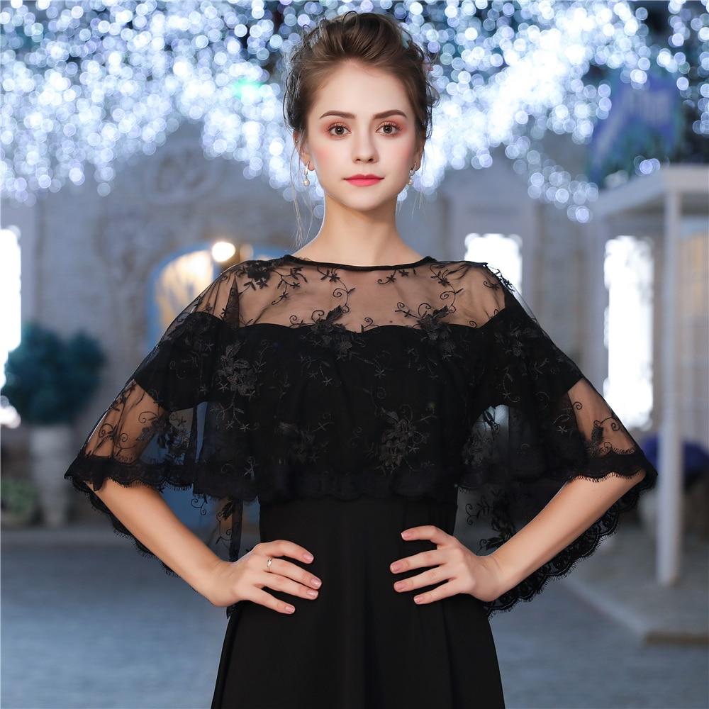 Black Fashion Sheer Summer Bolero Eyelash Lace Hi-Lo Capes Jacket For Evening Party Women Shawl Accessories Bridal Wrap