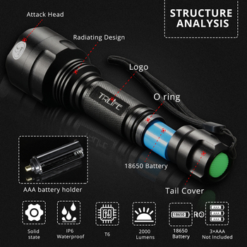 8000LM C8 Flashlight LED Tactical Hunting Light Focus Torch T6 L2 18650 Aluminum Long Shot Super Lights 5 Modes Night for Rifle 6