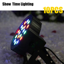 лучшая цена Show Time 10pcs/lot 18 led par stage light LED RGB DMX 512 7CH mini par led can for Club Dj show Home party KTV Disco Light