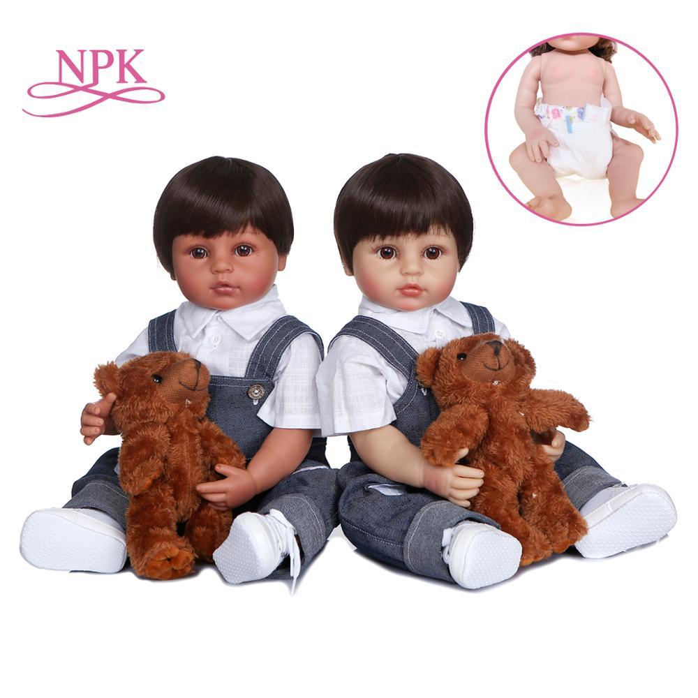 NPK-Pantalones reborn todder de 55cm para niño, dos colores de piel, realistas, suaves, de silicona