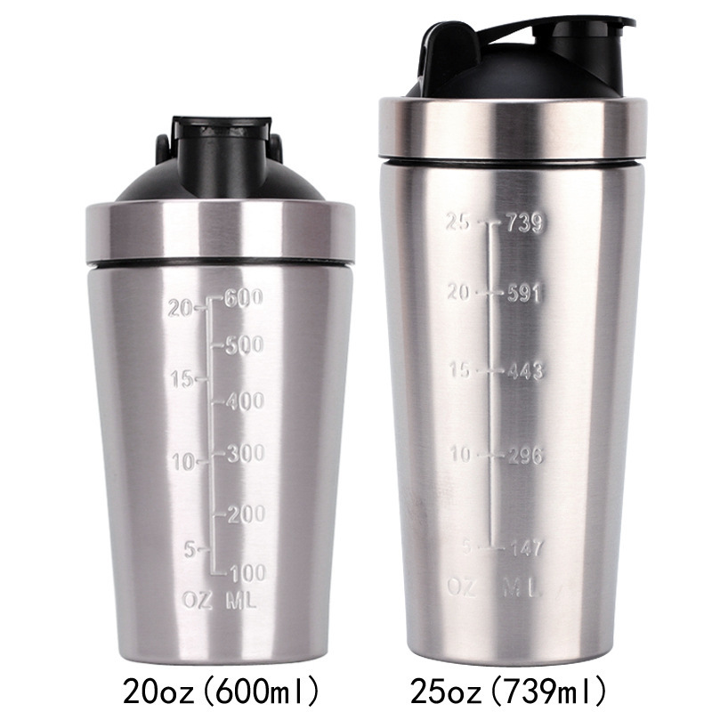2020 New 25oz single layer 304 stainless steel shake cup fitness protein powder mixing shaker non-insulation cup image