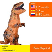 T Rex Velociraptor Inflatable Costume Mascot Cosplay Tirano Saurio Rex Dino Halloween For Women Men Kid Cosplay Funny Suit