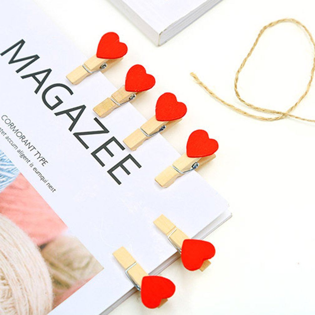 10Pcs Mini Heart Shape Wooden Clips For Photo Clips Clothespin Craft Decoration Clips Pegs Card Holder Paper Photo Clip Stand