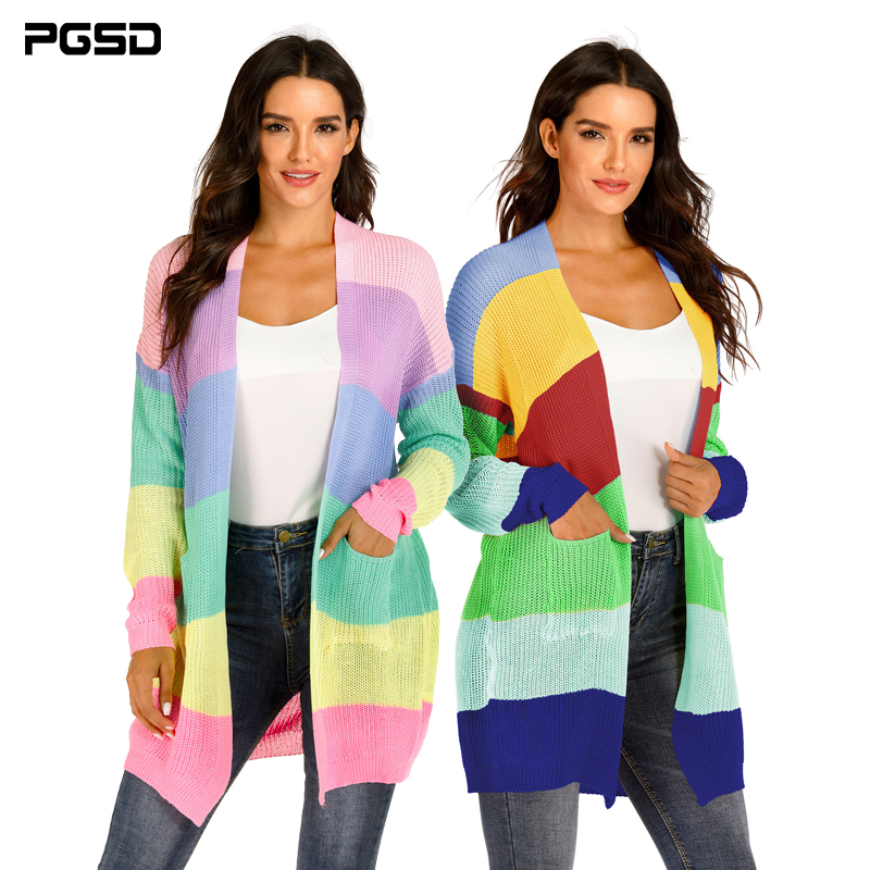PGSD Autumn Winter Big Size Women Clothes Mixed Color Stitching Colour Stripe Large Pocket Sweater Knitted Cardigan Female XXXL
