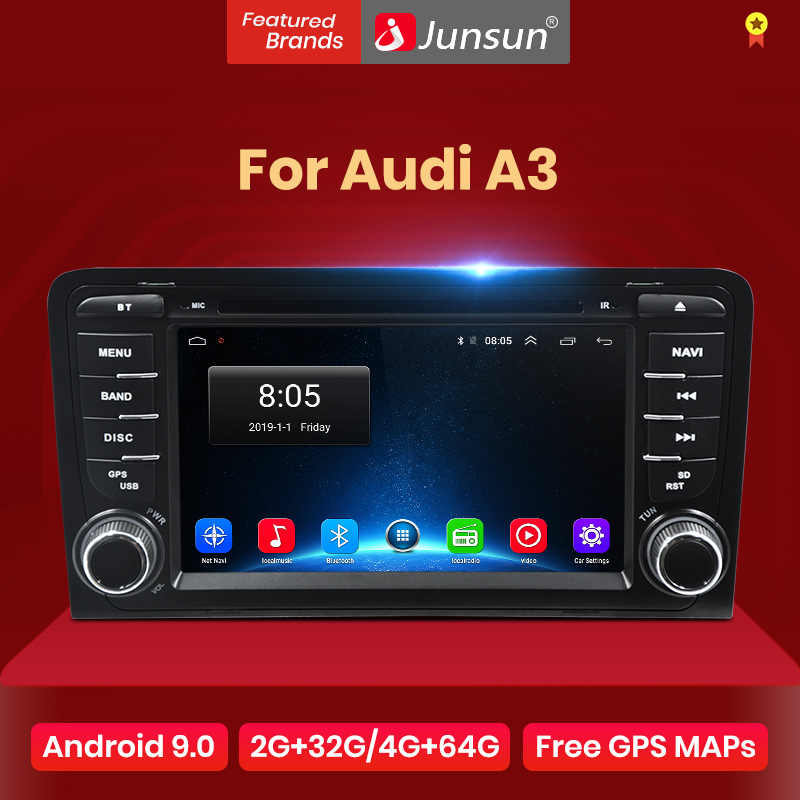 Junsun 2G + 32G Android 9.0 untuk Audi A3 8P/A3 8P1 3-Door Hatchback/S3 8P/RS3 Sportback Mobil Radio Multimedia Player GPS 2 Din DVD