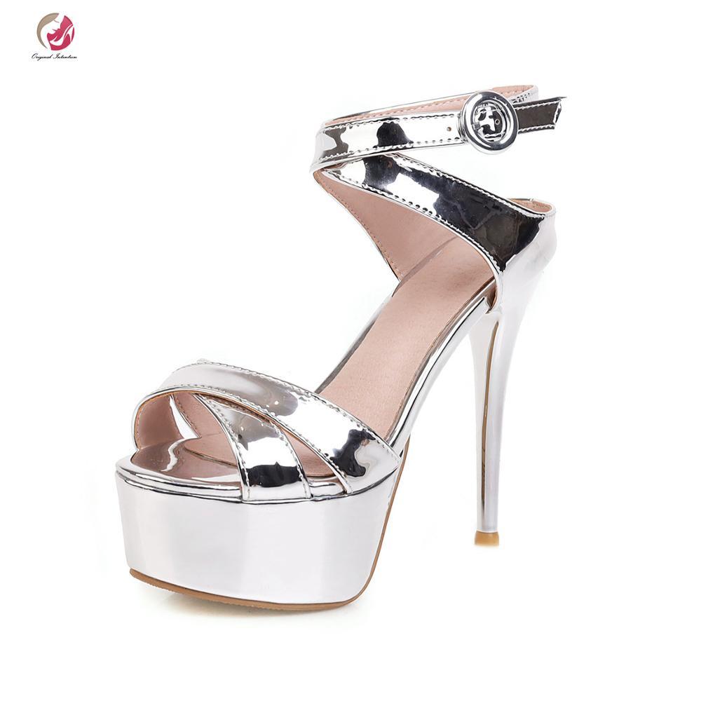 Original Intention New Fashion Silver Black Green Yellow Sandals Woman High Platform Stiletto Heels Elegant Grace Spring Summer